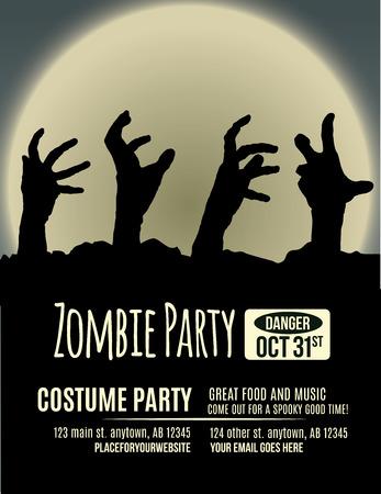 Invitación de la fiesta de Halloween con las manos de zombies que subía de la tierra delante de la luna llena.