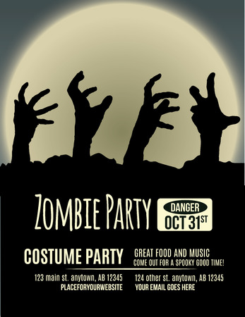 Halloween party invitation with zombie hands coming up out of the ground in front of a full moon.