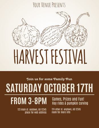 gourds: Harvest Festival flyer with hand drawn gourds Illustration