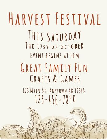 harvest festival: Harvest Festival poster with hand drawn watercolor gourds Illustration