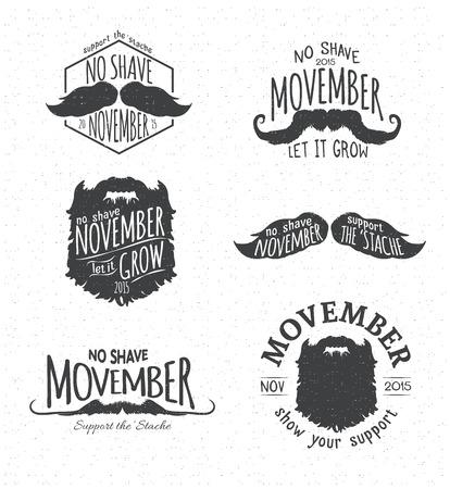 Retro Vintage Insignias for No Shave November - Movember