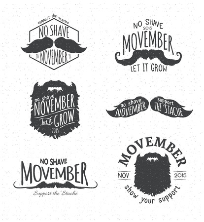 Retro Vintage Insignias for No Shave November - Movember