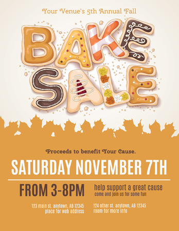 Hand drawn type for a Fall Bake Sale in the shape of delicious and colorful cookies on a flyer Ilustração