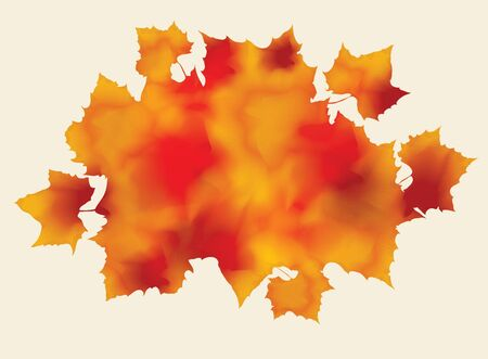 Bunch of abstract watercolor fall leaves