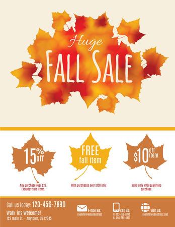 Fall Sale flyer met waterverf Fall Leaves