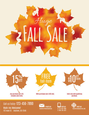 mailer: Fall Sale flyer with watercolor Fall Leaves Illustration
