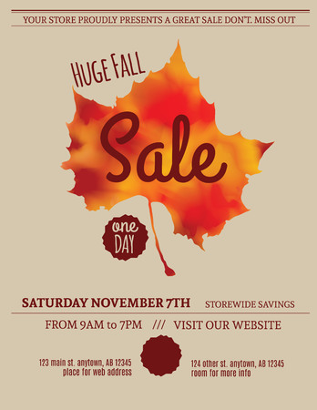 Huge Fall Sale minimalist flyer template Reklamní fotografie - 47922229