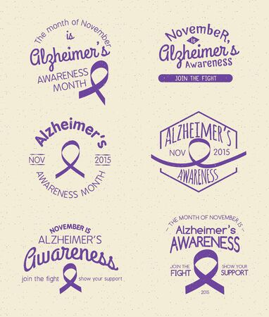 alzheimers: Alzheimers Awareness Month Hand Drawn Insignia set Illustration
