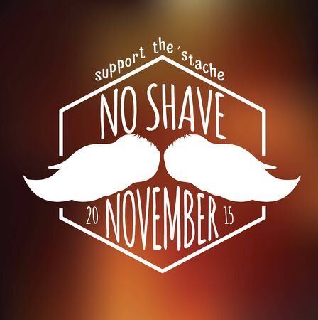 Retro Vintage insignia on blurry background for no shave November support Illustration