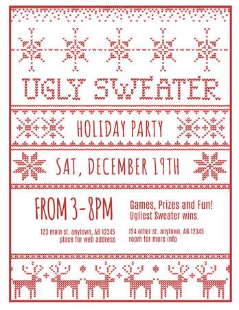 sueter: Rojo y blanco plantilla feo invitación de días festivos del suéter