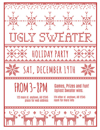 Red and White Ugly Holiday Sweater Party invitation template Illustration