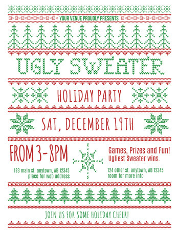 retro christmas tree: Red and Green Ugly Christmas Sweater Party invitation template Illustration