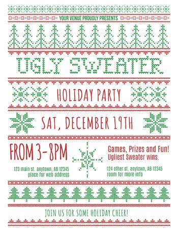 sueter: Rojo y verde plantilla de la invitación del partido feo del suéter de la Navidad Vectores