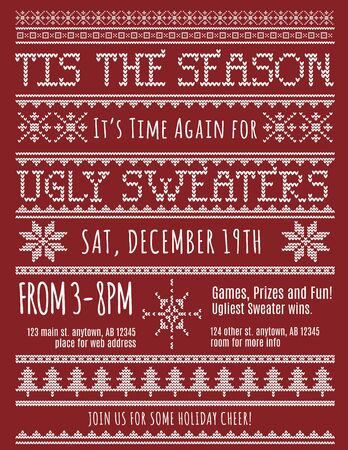 retro christmas tree: Ugly Christmas Sweater Party invitation template