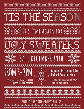 sueteres: Ugly plantilla de la invitaci�n del partido del su�ter de Navidad