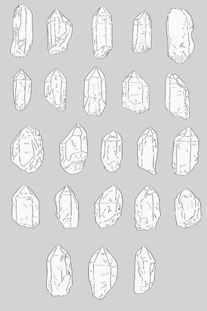 Set of hand drawn Quartz Crystals