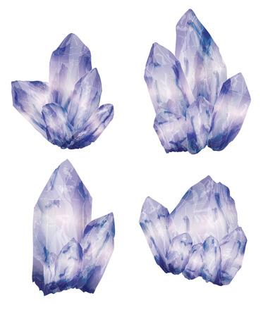 Amethist kristallen cluster in een hand getekende aquarel stijl