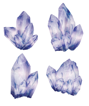 Amethyst crystal cluster in a hand drawn watercolor style Illustration