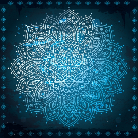 Blauwe Indische Ornament
