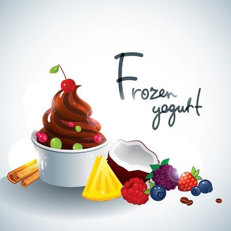 yogurt: Ilustraci�n Frozen Yogurt Vectores