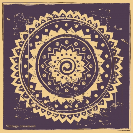 indian yoga: Ornamento d'epoca su sfondo blu