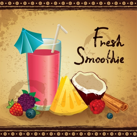 soda splash: Vintage Smoothie illustration Illustration