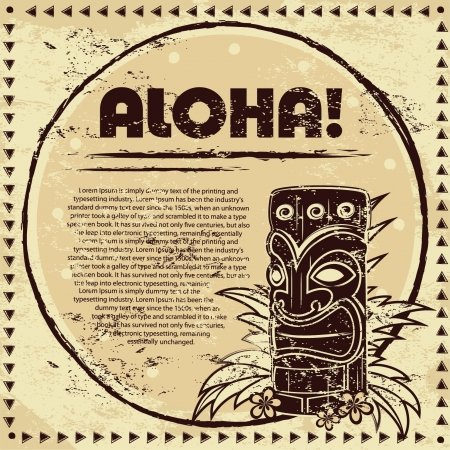 Vintage Aloha Tiki illustration  Vector