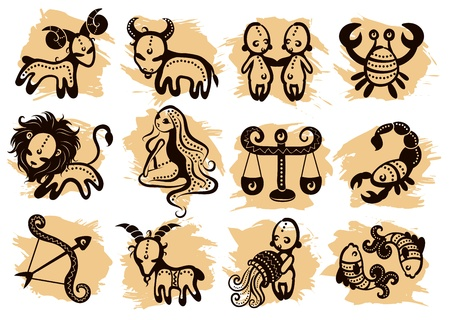 zodiac sign: Ethnic horoscope with some ornaments Illustration