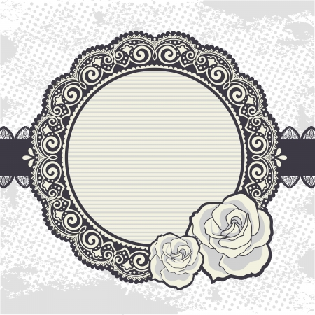 Elegant Vintage lace frame with the roses Vector