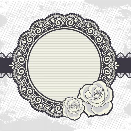 petal: Elegant Vintage lace frame with the roses