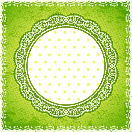 Elegan Green lace frame with polka dot background Vector