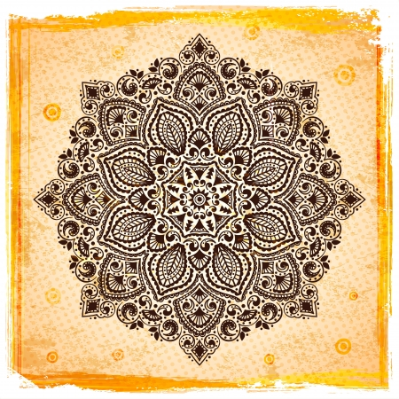 Beautiful Indian ornament with vintage background Stock Photo - 16905232