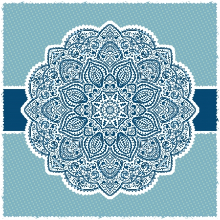Blue Indian ornamental frame with polka dot ornament Vector