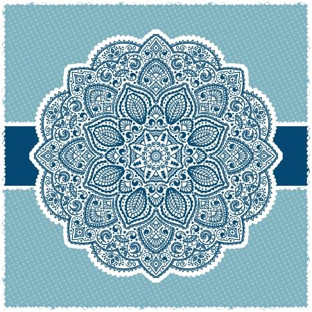native indian: Marco azul indio ornamental con adornos de lunares