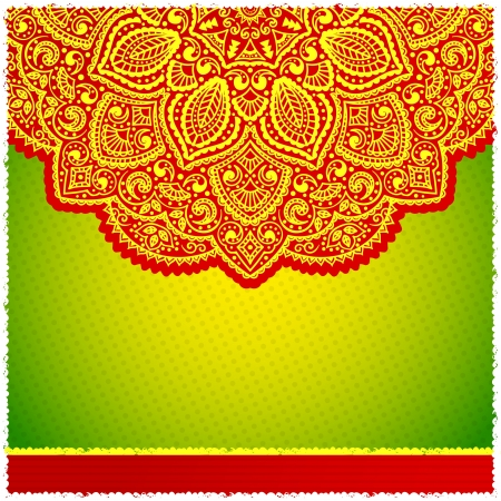 mandala: Red ornamental frame with polka dot background