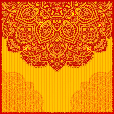 motif indiens: Carton rouge indien ornement salutation
