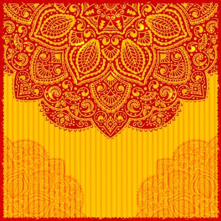 mexican art: Red Indian ornamento biglietto di auguri Vettoriali