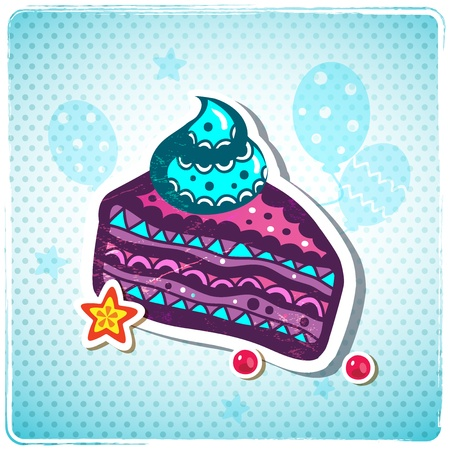 Cute Birthday cake can be used as greeting card Illustration