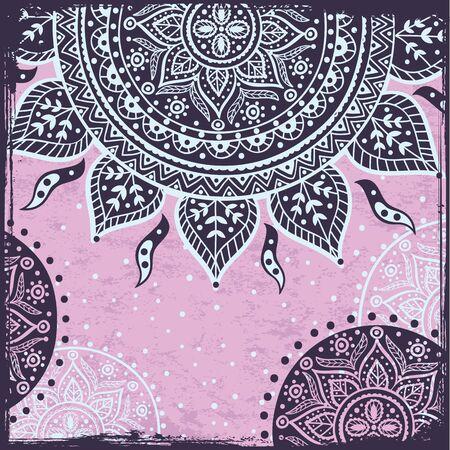 Purple Indian sun ornament Vector