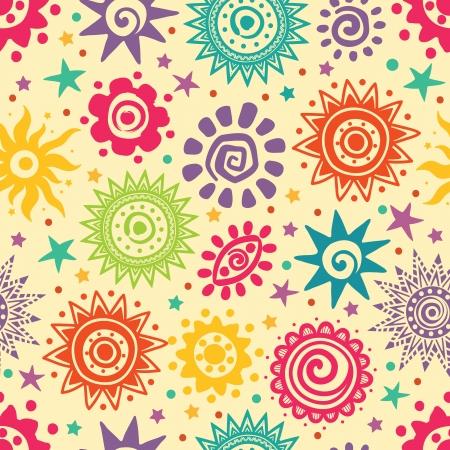 celestial: Ethnic sun pattern Illustration