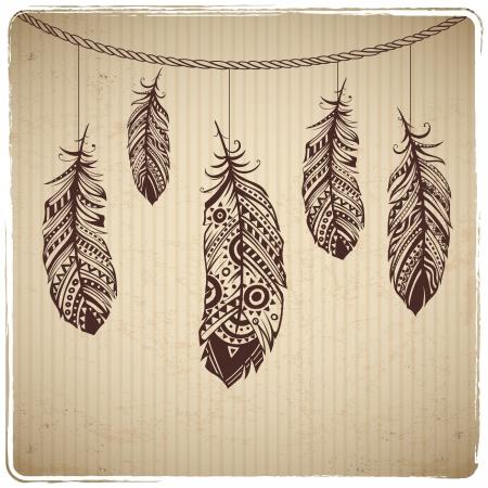 plume: Coeur plume ethnique sur le fond en carton Illustration