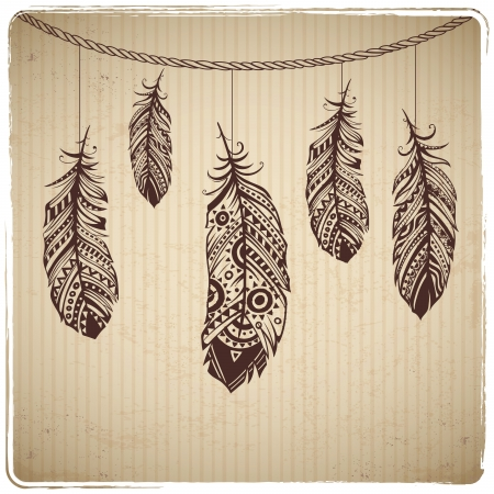 feathery: Ethnic feather heart on the cardboard background Illustration