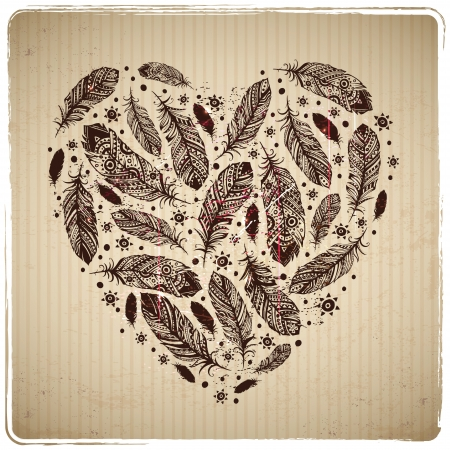 Ethnic feather heart on the cardboard background Illustration