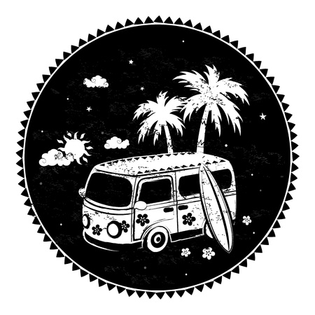 Old style bus with palm trees Vector