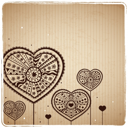 Valentine s Vintage Heart Greeting Card Vector