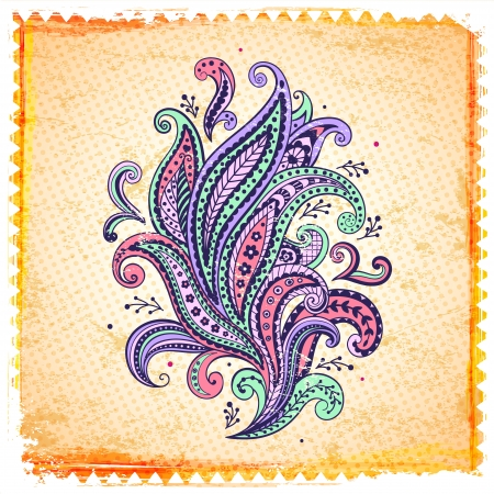 Beautiful color paisley ornament Vector