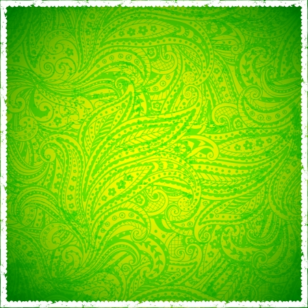 Green vintage paisley background Vector