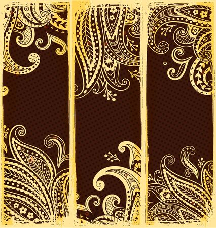 Ethnic bookmarks with gold paisley ornaments Vector
