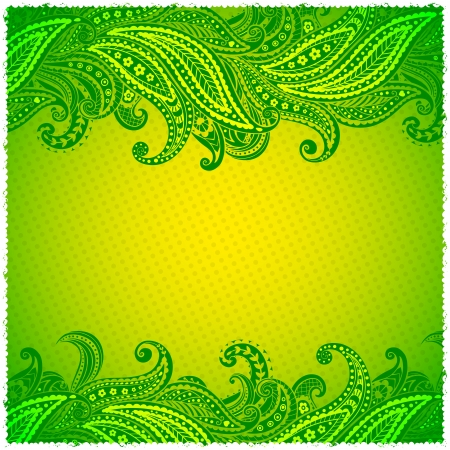 Beautiful green paisley ornamental frame Vector