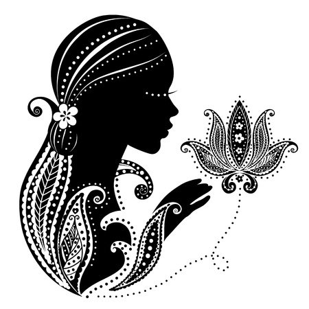 Indisches Mädchen mit einer Blume Standard-Bild - 17431716